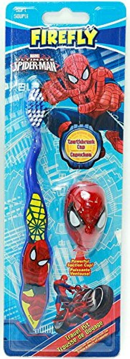 医薬暴力的なポータブル【スパイダーマン】キャップ付き歯ブラシ(ブルー)☆マーベル