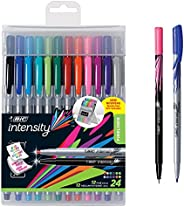BIC Intensity Fineliner Medium Fine Point Pens, 0.4-1.0mm – Set of 24 Markers, Reusable Pack – Fashion Colours