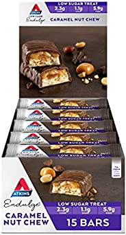 Atkins Endulge Caramel Nut Chew Bars | Keto Friendly Bars | 15 x 34g Low Carb Caramel Chocolate Bars | Low Car