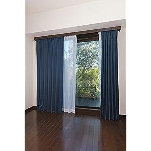 【全12種】セット ドレープカーテン×2枚 レースカーテン×2枚 4枚組 UVカット 洗える 幅100cm×丈200cm 4枚組 ネイビー