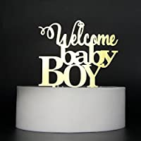 LOVELY BITON Gold Welcome Baby Boy Cake Topper Shining Numbers Letters for Wedding Birthday Anniversary Party. [並行輸入品]