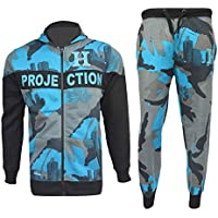 Kids Boys Girls Tracksuit HNL Blue Camouflage Hoodie Bottom Jogger Jogging Suits