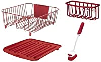 Rubbermaid 4-Piece Dish Rack Sinkware Set, Red by Rubbermaid