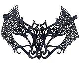 ダンスマスク メタルダイヤモンドアイアンマスクカーニバルハロウィーンマスクパーティーバットマスクブラックカラー ホリデーパーティー用品 (色 : ブラック, サイズ : 20x10cm)