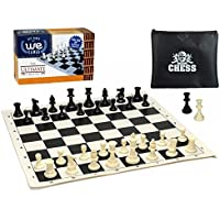 We Games Ultimate Compact Tournament Chess Set with Black Silicone Chess Board & Triple Weighted Pieces