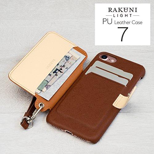 『RAKUNI Light PU Leather Case Book Type with Strap for iPhone 7 / iPhone 8 (ブルー) PUレザー スタンド機能 カードケース カバー ストラップホール付き RCB-7-BL』の3枚目の画像
