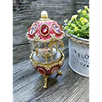 (Pink) - Whirligig Horse Music Box Clockwork Style Pewter Egg Carving Handicraft Mini Music Box with Musical Boxes Gifts for Love Girls (Pink)