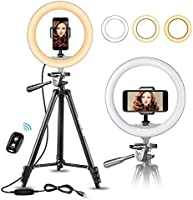 "UBeesize 10"" Selfie Ring Light with 50"" Extendable Tripod Stand & Flexible Phone Holder for Live Stream/Makeup, Mini..."