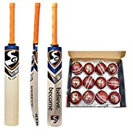 SG Club クリケットレザーボール (12個パック レッド) RSDスパークカシミールウィロークリケットバット シニアプレーヤー 速達