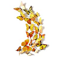 Demiawaking ウォールステッカー 壁紙 蝶々 磁石タイプ 美しく彩られる インテリア ステッカー シール 防水 おしゃれ (イエロー)