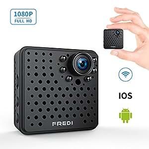 FREDI 超小型 隠しカメラ WiFi 長時間録画対応 防犯カメラ 1080P 小型ビデオカメラ 高画質 録音 動体検知 暗視機能 P2P対応 4分割画面 iPad / iPhone / Android 対応 (L17-1080P, ブラック)