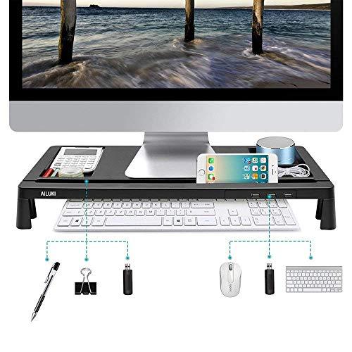 モニター台 机上台 パソコンスタンド 大容量 USBポート付き 収納 便利(...