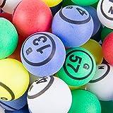 公式professional-use Ping Pong Bingo Balls for手動Bingo Cages、マルチカラーマット仕上げ単一数ピンポンボールセットby Mr。Chips , Inc
