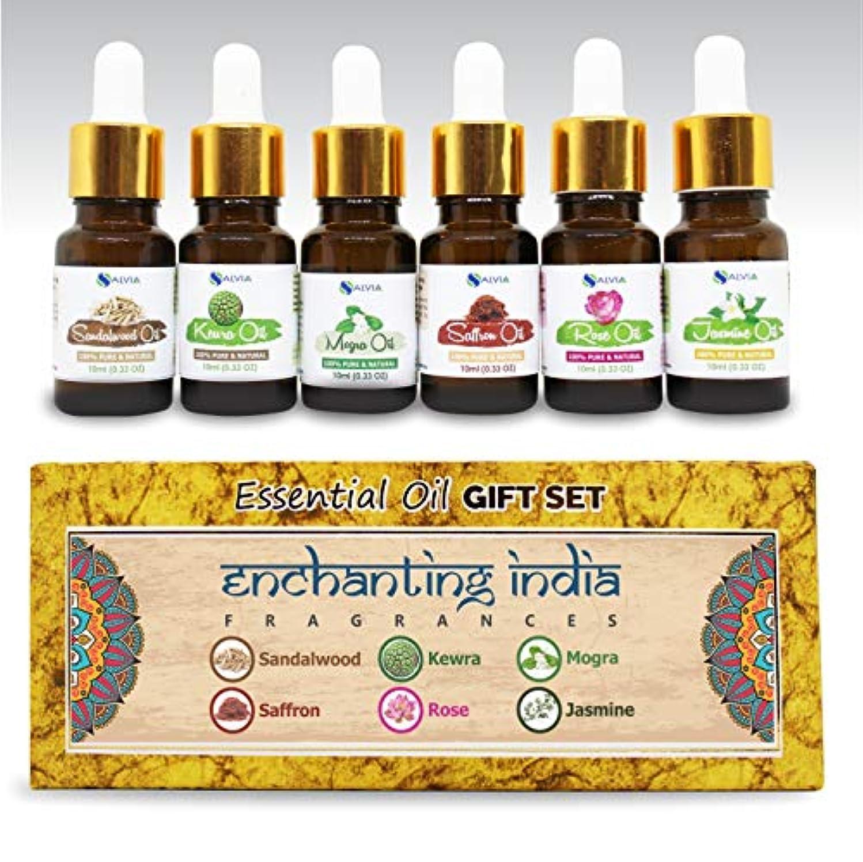 控えめなハーネス質素なAromatherapy Essential Oils - Pack of 6 100% Pure & Natural Therapeutic Oils - 10 ML each (Sandalwood, Rose, Saffron, Kewra, Mogra, Jasmine) Enchanting India Set