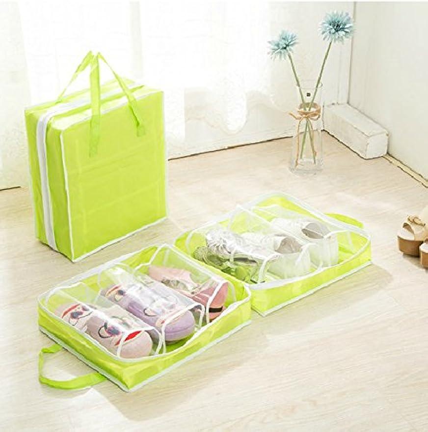 とげアルカトラズ島実行靴収纳バッグ,靴収納 通気性 軽さ 持ち運び便利 旅行用 (Color : グリンー)