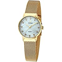 WWOOR Women Rhinestone Stainless Steel Quartz Watch Gold
