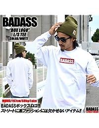 5327 BADASS バダス LONGSLEEVE BOX LOGO クルーネック長袖Tシャツ ホワイト (XL)