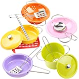 """Colorful 13PCS 6.8"""" Pretend Play Kitchen Cookware Set Stainless Steel Pots and Pans Toys Drainer Utensils Chopsticks Kitchenware Accessories for Kids(666-A1)"""