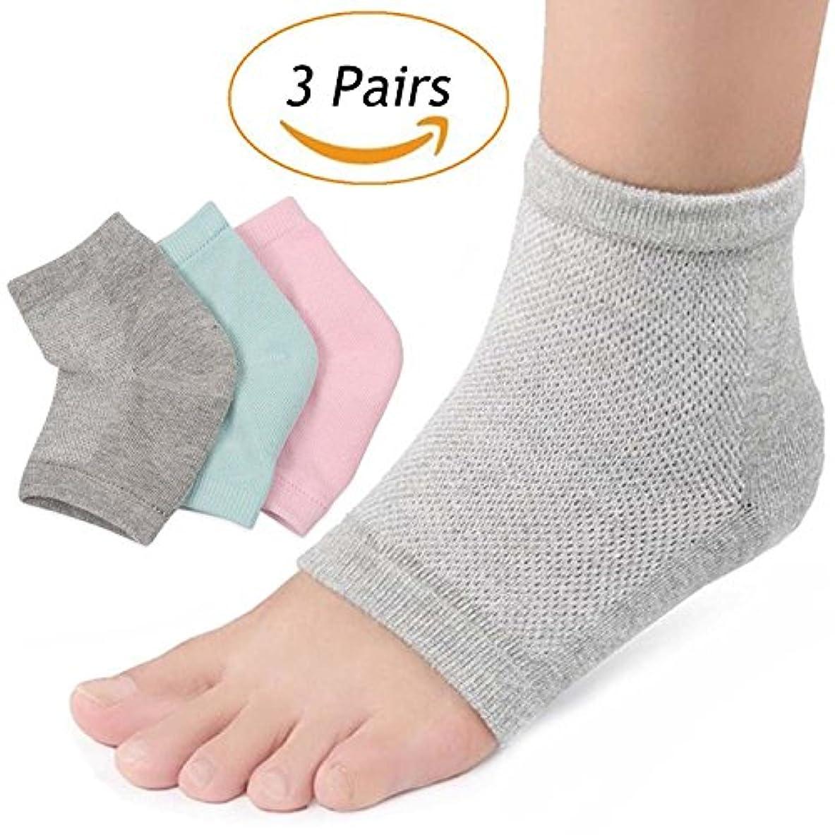 不適動的シニスLOVART'S BEAUTY かかと靴下 指なし つるつるソックス かかとカバー メッシュ ケア 美脚 3足セット