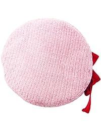 ハッピーハット リボン付きベレー帽 格子編み かわいいニットリボン ピンク hat-1292-01