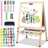 AZAKBL お絵かきボード 高さ調節可能 黒板 ホワイトボード 両面磁気 落書きボード A型両面木製イーゼル 数学、絵画、スケッチ、落書きをサポート 収納トレイ付き 子供の勉強にも最適