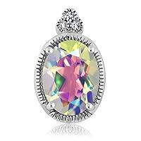 Gem Stone King 0.8カラット 天然石 ミスティックトパーズ (マーキュリーミスト) 天然 ダイヤモンド 10金 ホワイトゴールド(K10) ネックレス ペンダント トップのみ(チェーン無し)