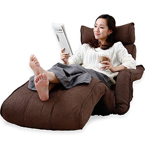 LOWYA (ロウヤ) 座椅子 ソファ 肘掛け フットレスト 3Dヘッド リクライニング ポケットコイル ダークブラウン おしゃれ 新生活