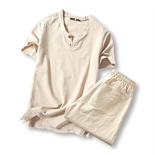 (オリマート)ORI-MART スウェット Vネック 半袖 Tシャツ 麻 無地 ストリート系 カジュアル シャツ メンズ (5XL(日本サイズ4L相当), ベージュ-上下セット)