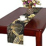 LKCDNG テーブルランナー 黒い 和風の扇子 クロス 食卓カバー 麻綿製 欧米 おしゃれ 16 Inch X 72 Inch (40cm X 182cm) キッチン ダイニング ホーム デコレーション モダン リビング 洗える