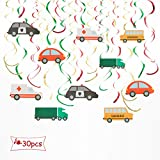 ALEY 車 吊り下げ スワールデコレーション パーティーデコレーション用品 子供 男の子 誕生日 その他のお祝いに (30個)