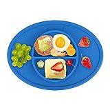 お食事マット テーブルマット ランチョンマット ランチプレート シリコン 離乳食 ベビー食器 幼児 赤ちゃん 子供 キッズ 滑り止め(青)