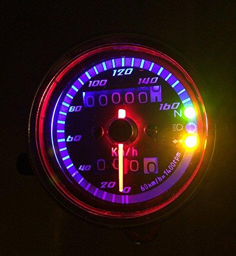バイク 3連 LED 機械式 スピード メーター インジケーター 付 160km/h バック ランプ ライト ドレスアップ カスタム パーツ 汎用 (ブラックパネル)