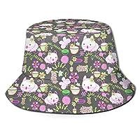 バケットハット 男女兼用 帽子 ハット ピンクの猫 紫外線対策 遮光 UVカット 釣り 登山 旅行 海水浴