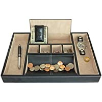 Black Leatherette Valet Tray Desk Dresser Drawer Coin Case Catch-all for Keys, Phone, Jewellery, Watches, and Accessories