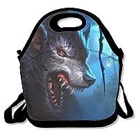 ネオプレンLunch Tote–moon-wolf-wallpaper防水再利用可能なクーラーバッグメンズレディース大人子供幼児用看護師with Adjustable Shoulderストラップ–Best旅行バッグ