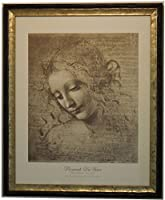 イタリア製 JHAアンティークフレーム 世界の名画 レオナルド・ダ・ビンチ(ほつれ髪の女性) W460×H560 IG-75 アートポスター 額絵 絵画 木製フレーム