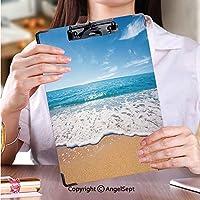 クリップボード A4サイズ対応 レンジップボード 学生用かわいい画集ビーチと熱帯の海ストック画像 (2パック)