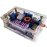 waves ケース付 DC-DC コンバーター 降圧型 電源モジュール USB出力 電圧表示 定電流 定電圧 可変 バッテリー充電 LED駆動 入力5-36V 出力1.25-32V 5A 国内発送 日本語解説書付 (赤/レッド)