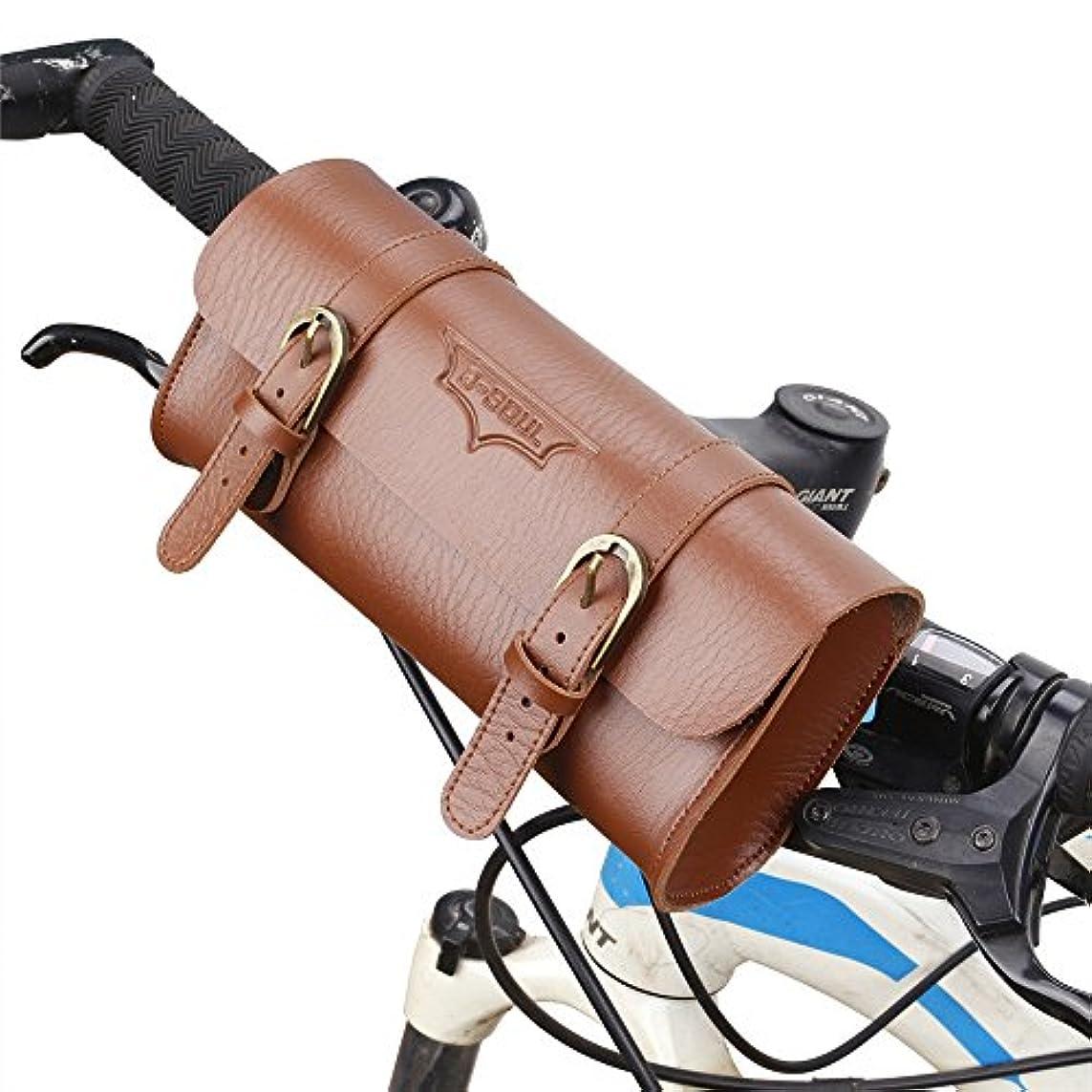 騒乱オレンジ厚い自転車サドルバッグ完全防水自転車パニエ革自転車収納バッグ、レトロスタイル自転車フロントフレームバッグ、快適なソフトハンドルバーツールバッグ、自転車ポーチサイクリング用アクセサリー サドルバッグ?フレームバッグ (色 : 褐色)