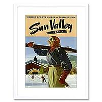 Sun Valley Idaho Sport Skiing Skating Framed Wall Art Print