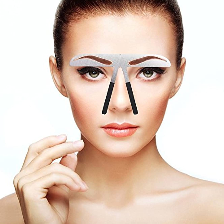 のヒープゴルフ見物人眉毛テンプレート、眉用ステンシル メイクアップ 美容ツール アイブローテンプレート アートメイク用定規 左右対称 位置決め 繰り返し使用 便利 初心者眉の補助器 男女兼用 (01)