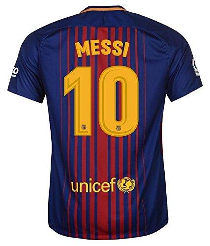 子供用 バルセロナホーム・半袖 サッカーレプリカユニフォーム(シャツ,パンツセット)・Messi 10番 メッシ (身長150cm 前後, 2018 Messi 10番 メッシ)