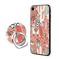 シリコーン Phone Case 金属 携帯リング 付き 活気に満ちた IPhone 7 IPhone 8 用 ラマとカクタス 仙人掌 植物