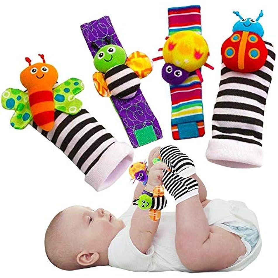 アウトドアテスピアンガチョウかわいい動物の柔らかい赤ちゃんの靴下のおもちゃ手首のガラガラと楽しい蝶とテントウムシの足のファインダーセット4ピース