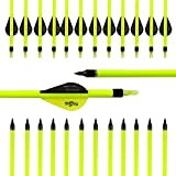 Easy RakuRアーチェリー矢 弓具、 カーボン完成矢 炭素矢 ネジポイント アロー 黄色シャフト 直径7.8mm 30インチ 12本セット 尖先端 黒黄羽根