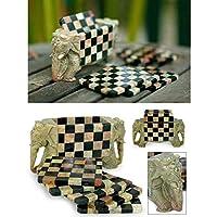 INAKI 象とチェスのデザインコースターセット 手作り 吸収性ストーンコースターセット