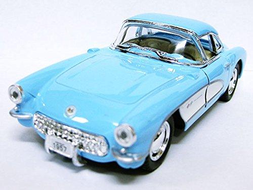 1957年式クラッシックカー シボレー コルベットのミニカー/ブルー 水色 1/34サイズ(13cm...