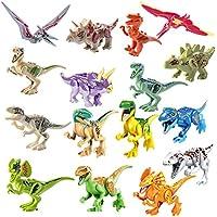 Fcoson 子供用恐竜フィギュア 16ピース プラスチック恐竜組み立てブロック 3D恐竜ブロック 子供用