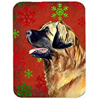 Carolines Treasures LH9348LCB Leonberger Red And Green Snowflakes Holiday Christmas Glass Cutting Board - Large