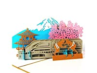 FenBuGu-JP 3Dポップアップグリーティングカード手作りカード日本富士山デザインカードギフトカード(ゴールド)